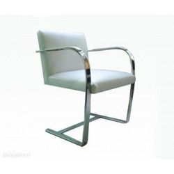 Sillon BRNO  inoxidable similpiel blanca