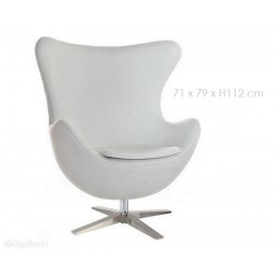 Sillón Egg Jacobsen similpiel blanco