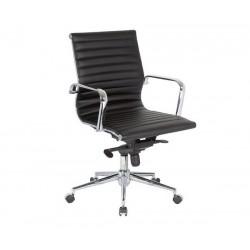 Silla oficina Eames similpiel negra 117-A Aluminium