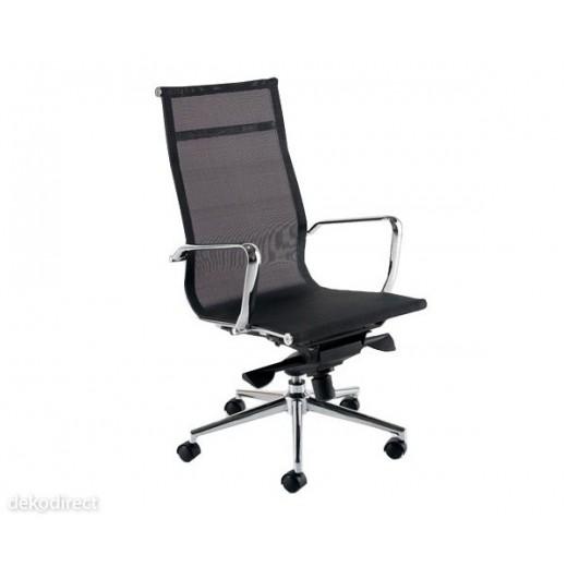 Silla oficina,117-A,alta,malla negra,doble mando,Aluminium Eames