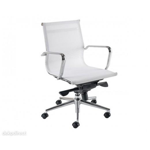 Silla oficina Malla - A, blanca, Aluminium 117 Eames