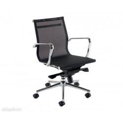 Silla oficina Eames,malla negra, doble mando,Aluminium