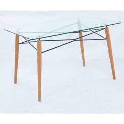 Mesa cristal y patas madera 120x80 Glasgow