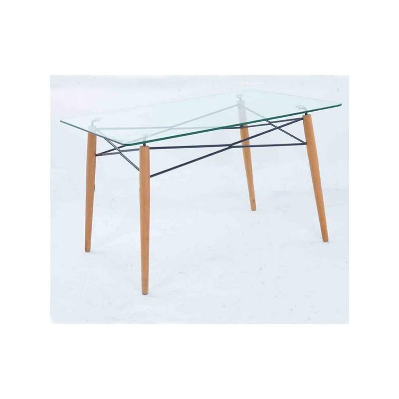 Mesa cristal y patas madera 120x80 glasgow dekodirect - Patas para mesa de cristal ...