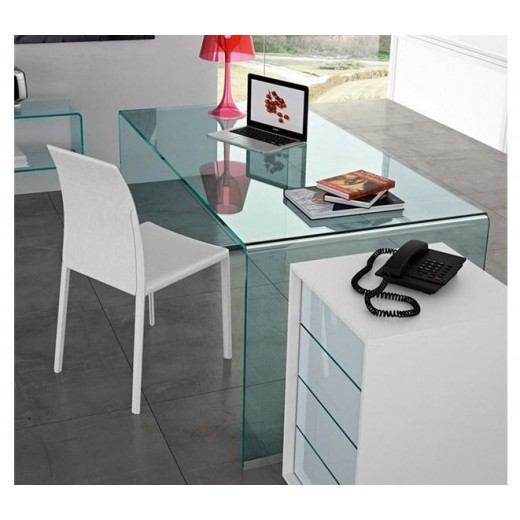 Mesa cristal curvado escritorio  150x80 cm, Cord