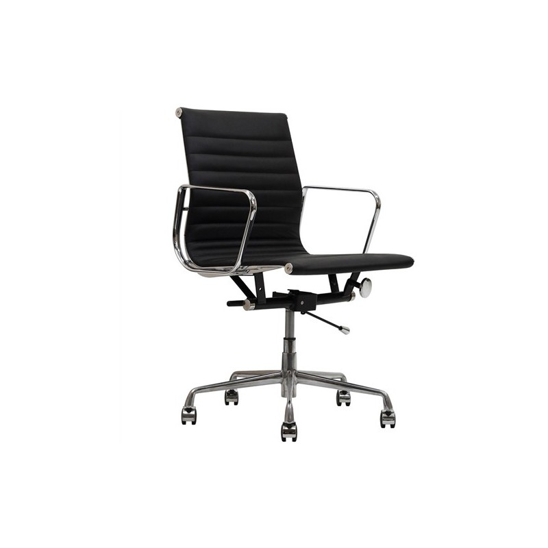 Silla sill n oficina eames en similpiel negra for Silla oficina oferta