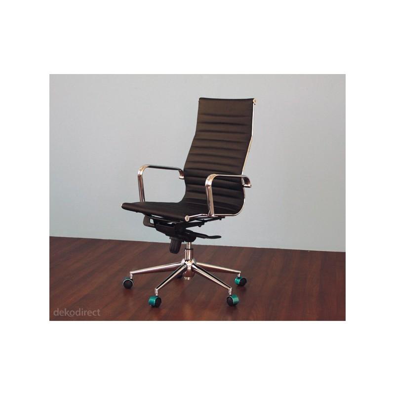 Silla de oficina eames aluminium 119a alta similpiel negra for Sillas altas para oficina