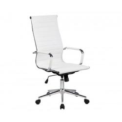 Silla oficina Eames similpiel blanca A-119 Aluminium