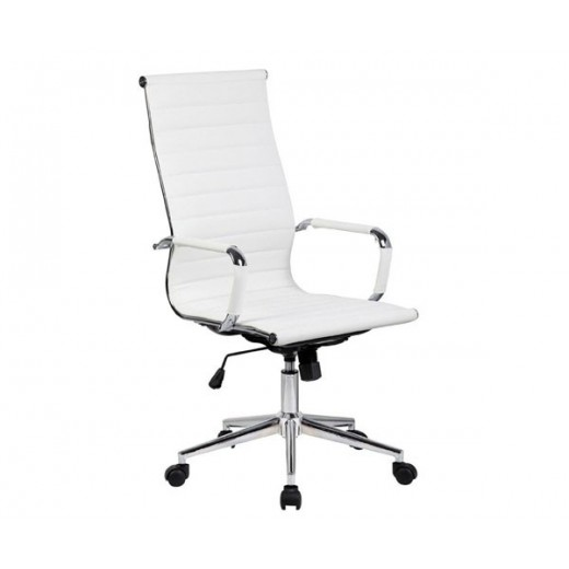 Silla oficina Eames similpiel blanca 119  Aluminium