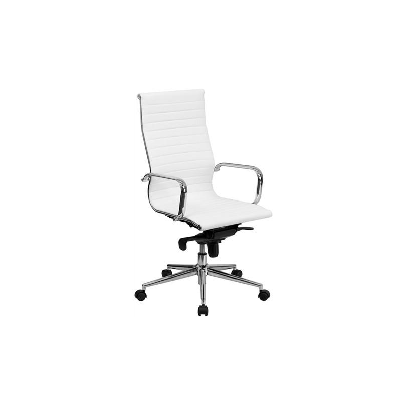 Silla de oficina eames aluminium 119a alta similpiel blanca for Sillas altas para oficina