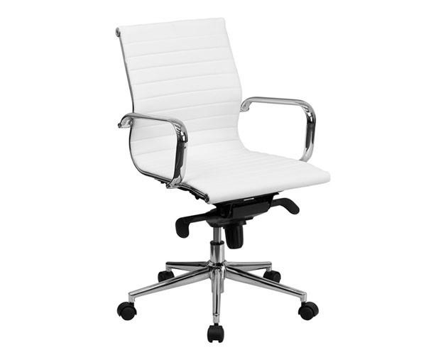 Silla oficina Eames similpiel blanca 117-A Aluminium doble mando