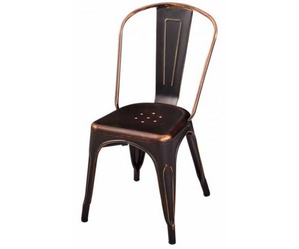 Silla Tolix negro/cobre vintage