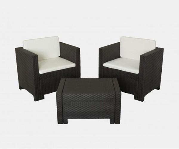 Set de jardín sillones y mesa en blanco