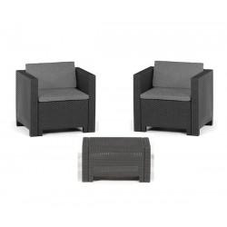 Set de jardín sillones y mesa en negro