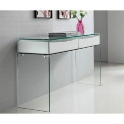 Mesa consola cristal doblado y dos cajones en blanco