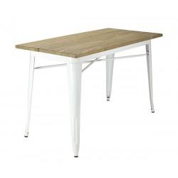 Mesa de comedor rectangular Tolix tapa de madera