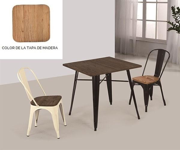 Mesa de comedor cuadrada Tolix negra tapa de madera