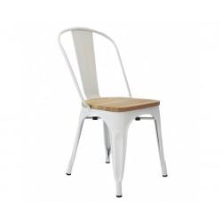 Silla de diseño Tolix blanca con asiento madera