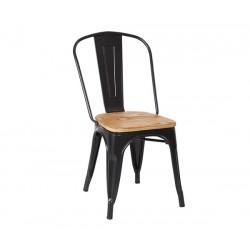 Silla de diseño Tolix negr con asiento madera