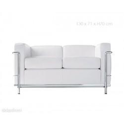 Sofá Le Corbusier 2 plazas piel blanca CROM LC2