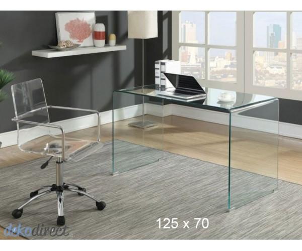 Mesa cristal curvado escritorio 125x70 cm Cord