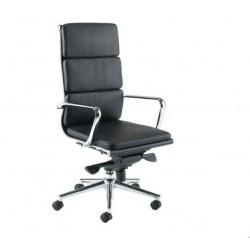 Silla oficina Eames alta acolchada negra A-219 Aluminium