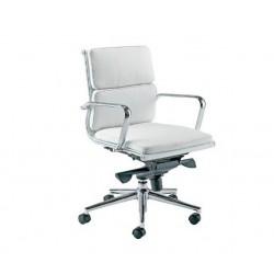 Silla oficina Eames baja acolchada blanca A-219 Aluminium