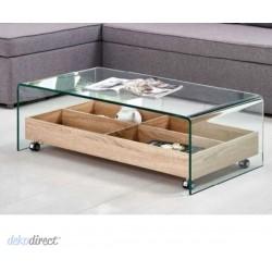Mesa de centro cristal templado con cajonera